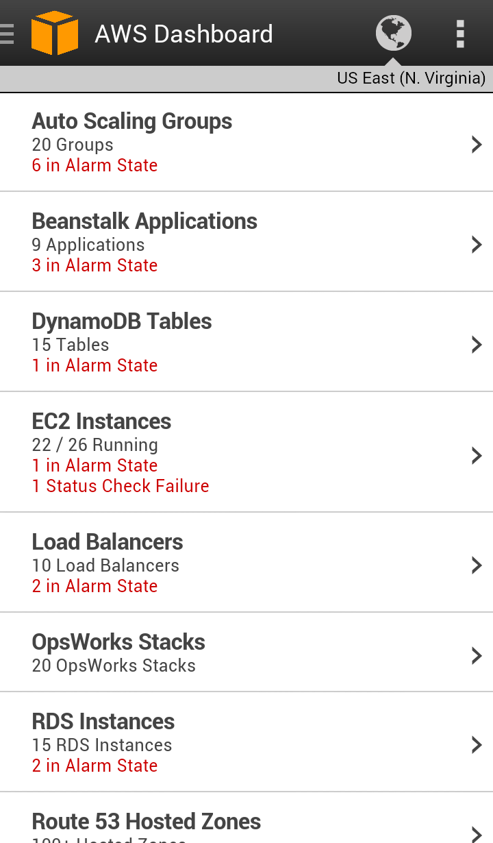 AWS Console mobile app (Android)