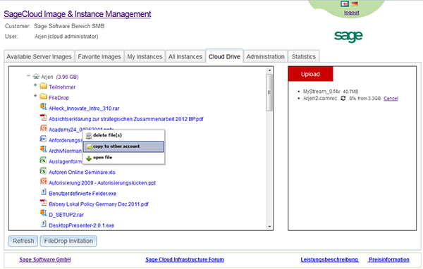 Sage Software GmbH Cloud Drive on the Sage Cloud Services Portal