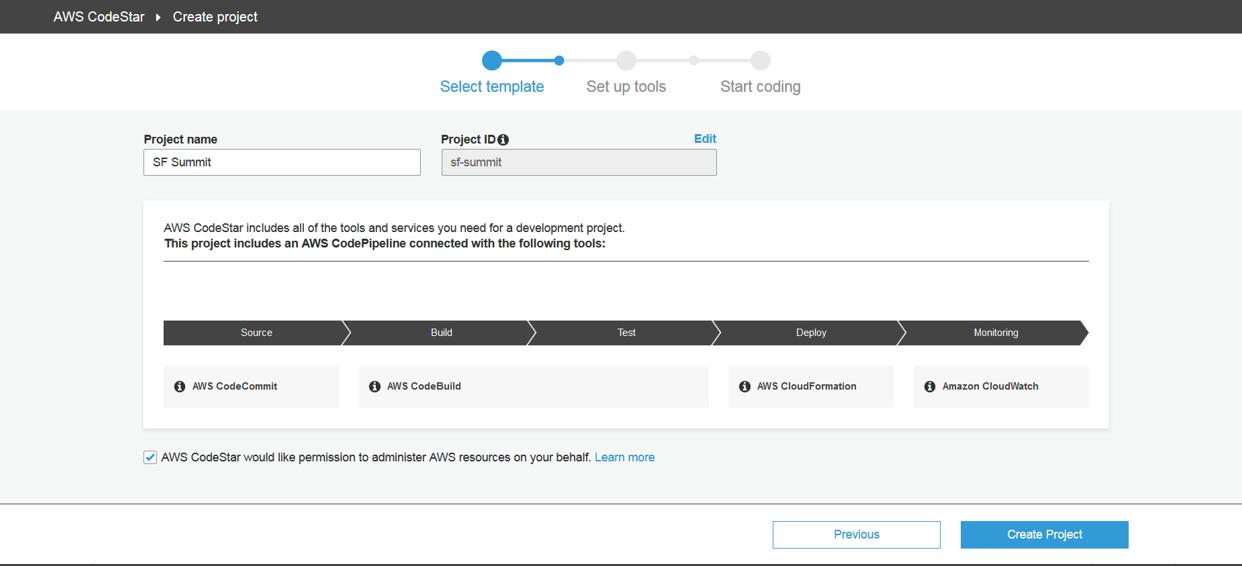 Detalhes do produto AWS CodeStar