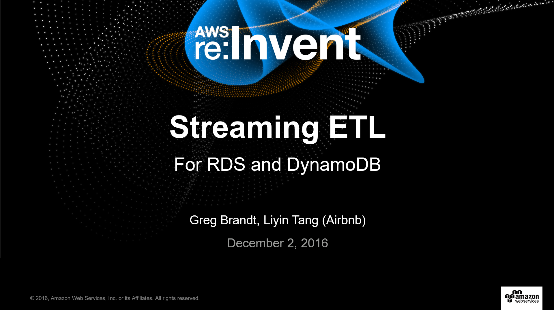 DAT315 Streaming ETL for RDS and DynamoDB