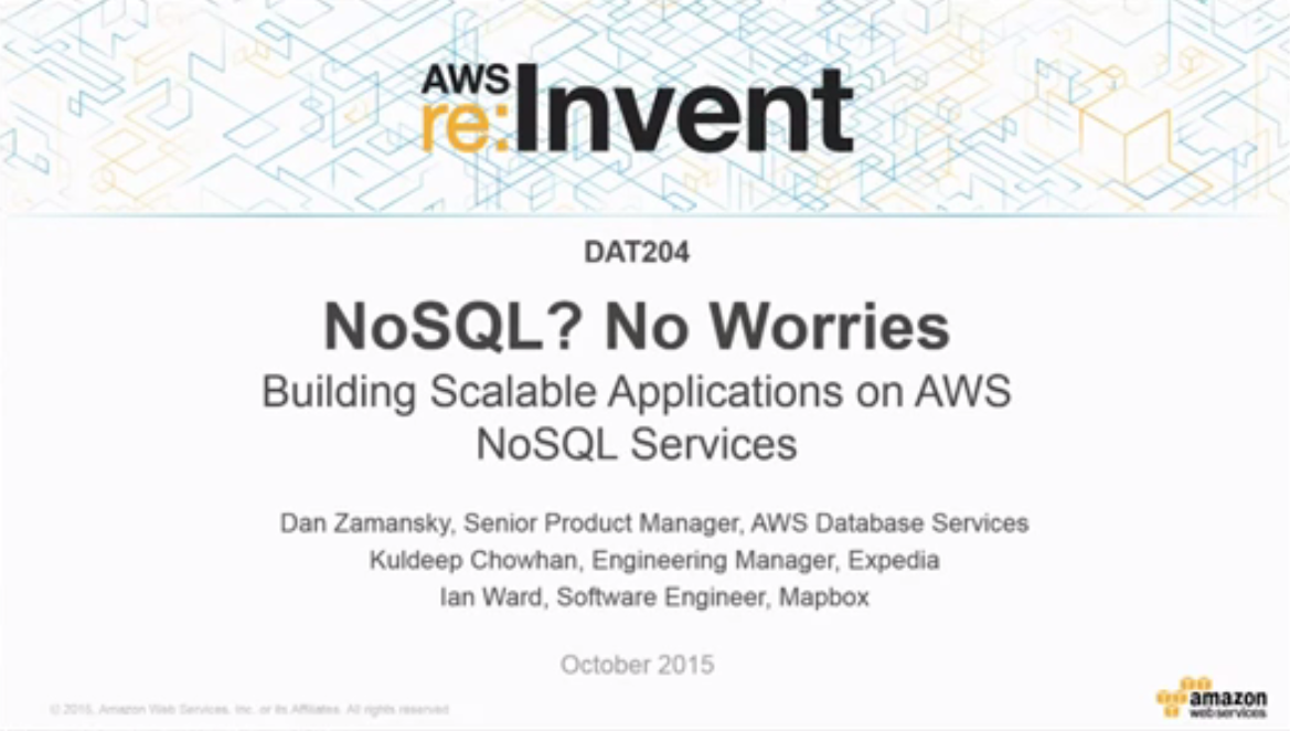 NoSQL, No Worries - Building Scalable Applications on AWS NoSQL Services